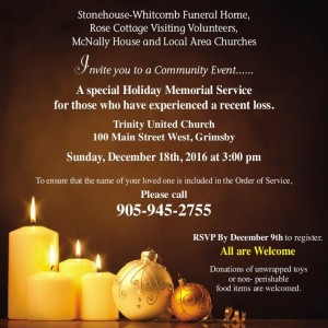 Holiday Memorial Service • Sunday, December 18 @ Trinity United Church | Grimsby | Ontario | Canada