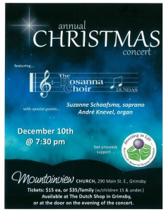 Annual Christmas Concert • West Lincoln Memorial Hospital Foundation @ Mountainview Church | Grimsby | Ontario | Canada